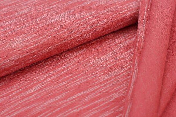 Stepp-Stoff hell rot / weiß melange Striche Steppsweat