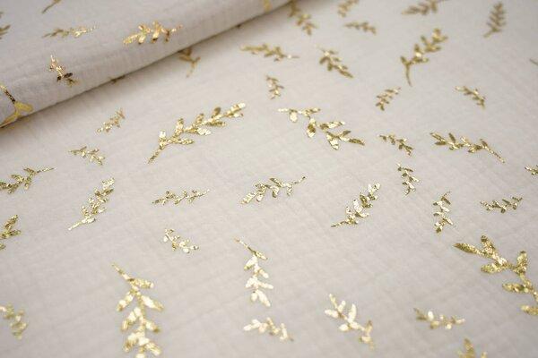 Musselin Stoff Double Gauze off white weiß mit goldenen Zweigen
