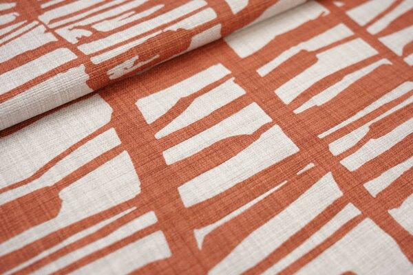 Canvas-Stoff Dekostoff großes Muster mit Strichen hell beige / rotbraun