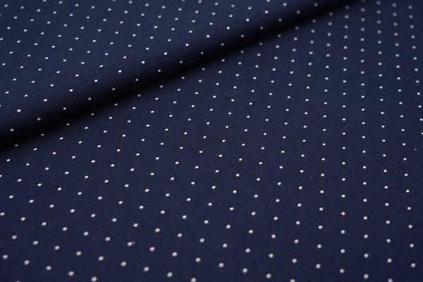 Baumwoll-Jersey maritime weiße Mini Punkte auf dunkelblau