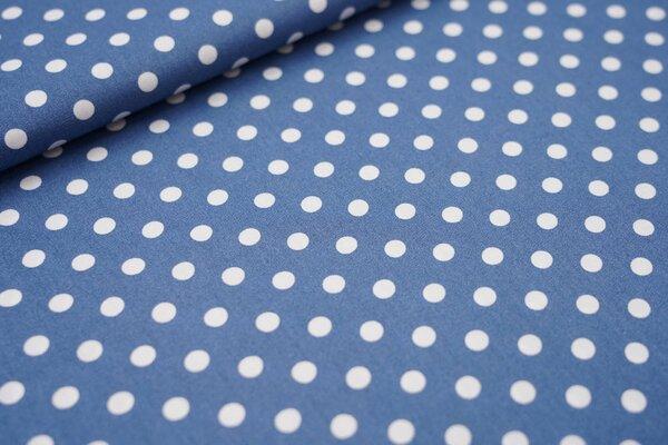 Baumwollstoff Baumwolle große Punkte taupe blau / weiß
