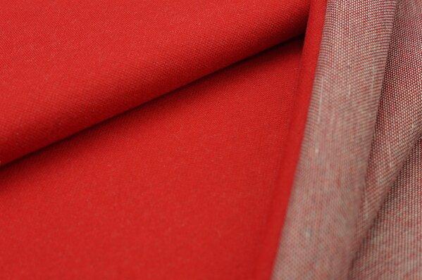 Jacquard-Sweat Ben rot Uni mit rot / navy blau und off white Rückseite
