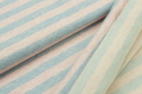 XXL Baumwollsweat Maya Melange Streifen breit pastell hellblau und pastell rosa