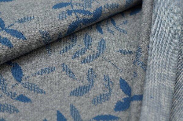 Jacquard-Sweat Mia taupe blau Blätter auf mittelgrau Melange