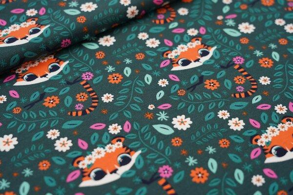 Baumwoll-Jersey niedliche Tiger mit Blättern und Blumen auf waldgrün