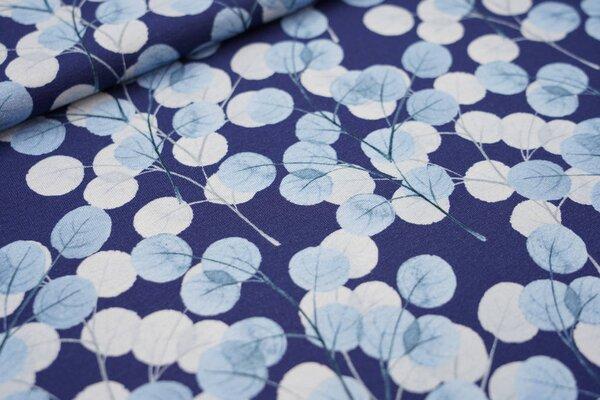 Digitaldruck Viskose-Jersey mit Eucalyptus Blättern auf blau