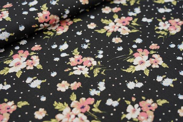Baumwollstoff Blumen und Punkte auf schwarz