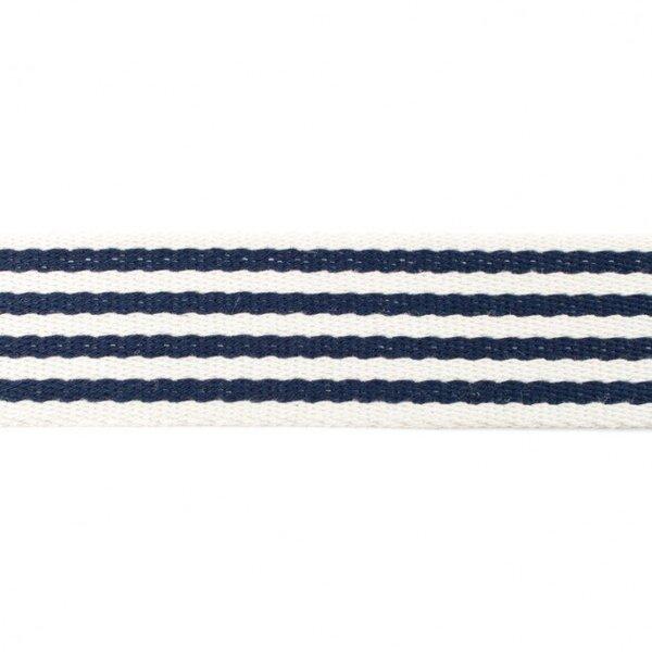 Breites Gurtband mit 4 Streifen off white / dunkelblau 40 mm