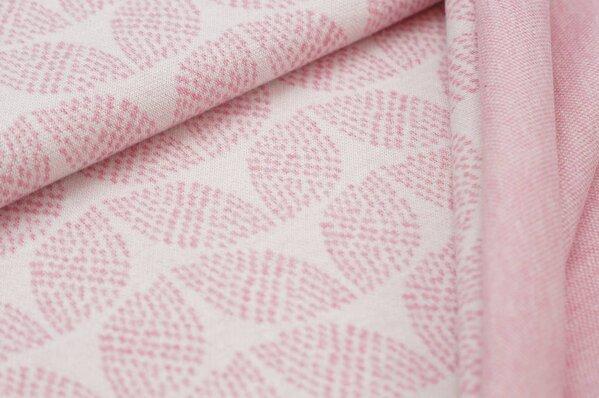 Jacquard-Sweat Mia pastell pink Melange Blätter Muster auf off white