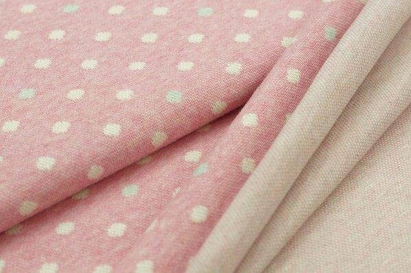 Jacquard-Sweat Mia off white und pastell mint Punkte auf pastell pink Melange
