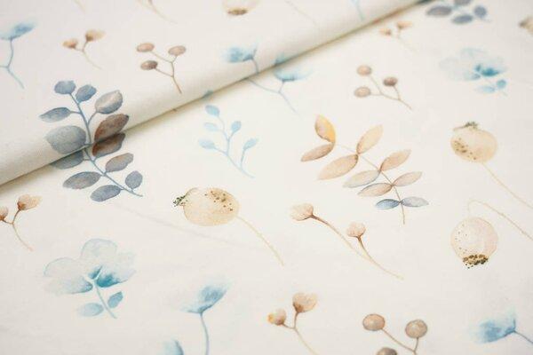 Traumbeere Baumwoll-Jersey Digitaldruck Aquarell Blätter Zweige Beeren off white blau braun