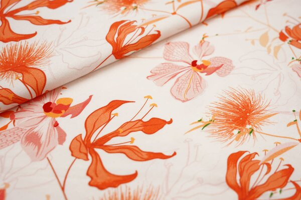 Baumwoll-Jersey Digitaldruck Blumen Orchideen lachs hell / koralle / orange