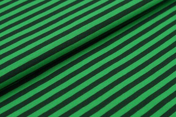 Baumwoll-Jersey Streifen Ringel dunkel moosgrün / apfelgrün