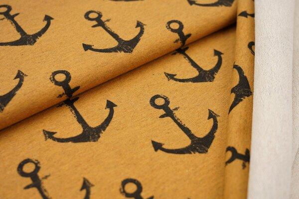 Baumwoll-Sweat grosse schwarze Anker auf senf ocker meliert maritim