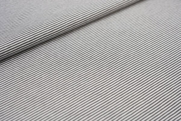 Baumwoll-Jersey sehr schmale Streifen Ringel mittelgrau / weiß