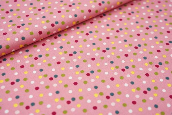 Baumwollstoff mit bunten Punkten altrosa / grün / gelb / rosa / rot / weiß
