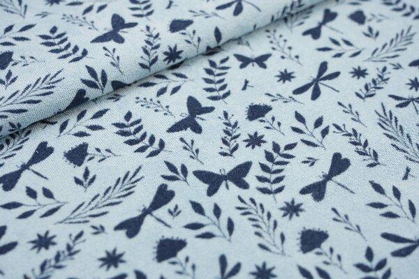 Stretch Frottee Schmetterlinge Zweige hellblau dünner elastischer Frotteestoff