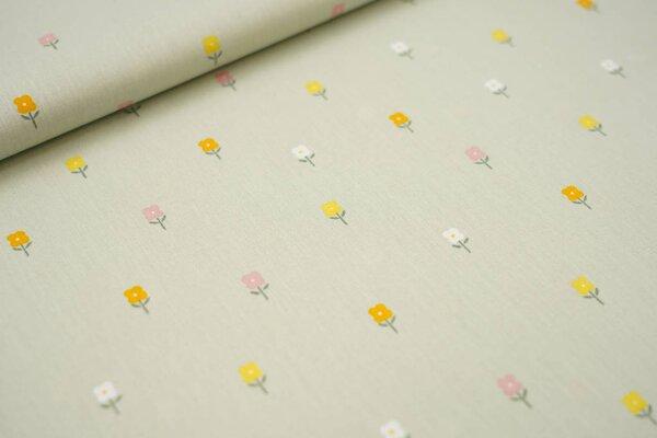 Baumwolle kleine Blumen auf hellgrün