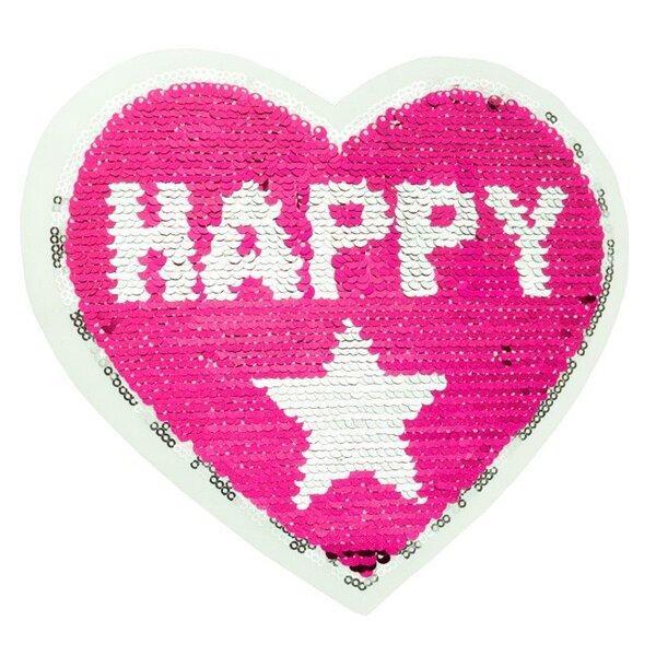 Applikation Herz mit Stern und HAPPY GIRL pink / silber Wendepailletten Aufnäher