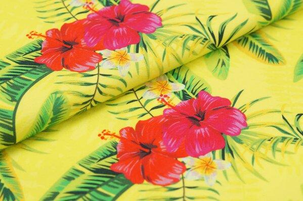Baumwoll-Jersey Digitaldruck Hawaii Look Blumen Palmen grün rot pink auf gelb