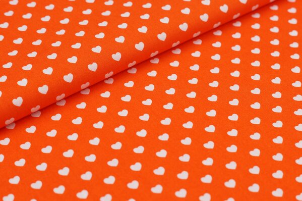 Baumwollstoff Baumwolle Herzen orange / weiß
