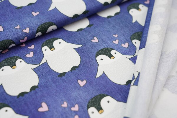 Kuscheliger Baumwoll-Sweat mit Pinguinen und Herzen Jeansoptik dunkelblau