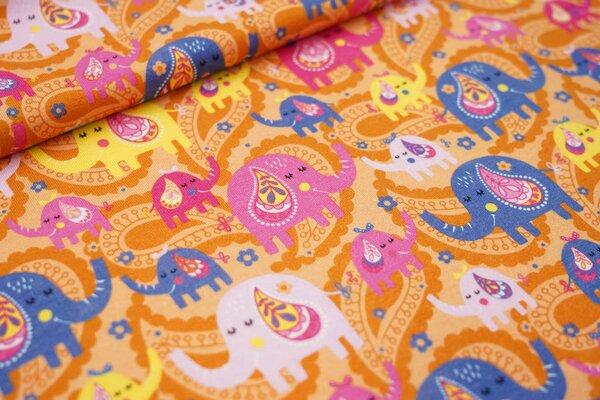 Baumwoll-Jersey bunte Elefanten und Paisley Blumen-Muster auf orange
