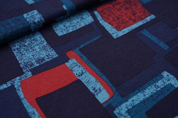 Viskose-Jersey abstrakte Kästchen Vierecke dunkelblau / türkis / petrol
