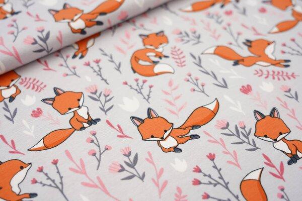 Baumwoll-Jersey Füchse und Blumen auf hellgrau Fuchs Blätter