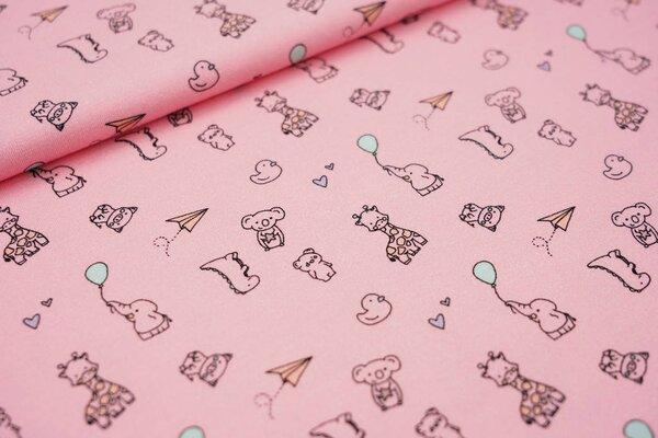Baumwoll-Jersey Baby Tiere Herzen Luftballons auf rosa Dino Giraffe Koala Ente