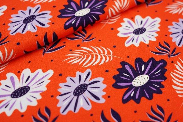 Baumwoll-Jersey Digitaldruck große lila Blumen Blätter und Punkte auf orange