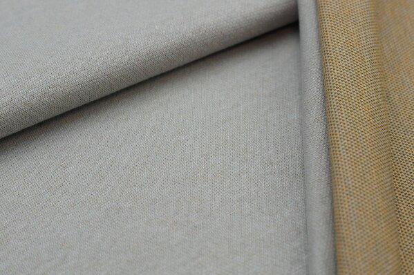 Jacquard-Sweat Ben hellgrau Uni mit hellgrauer und senf Rückseite