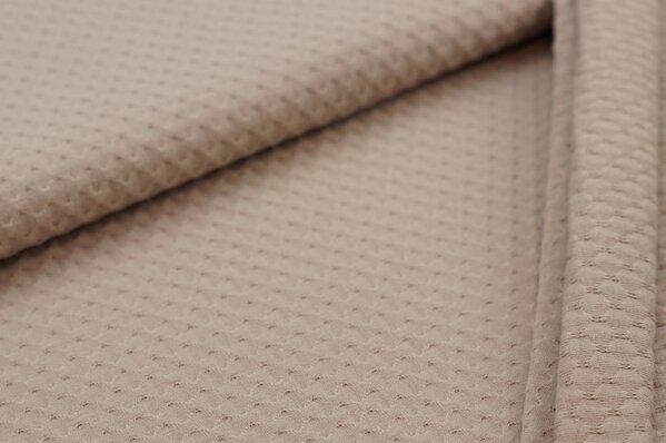 Baumwoll-Jersey mit Struktur Waben-Design uni schlamm braun taupe