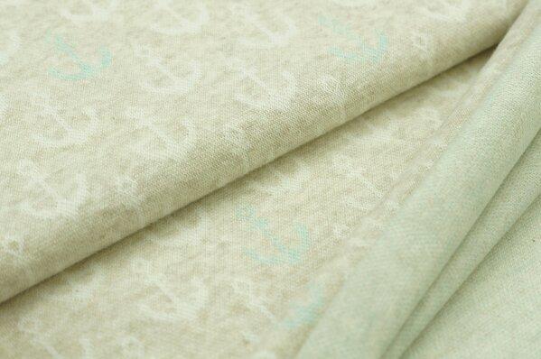 Jacquard-Sweat Mia off white und pastell mint Anker auf pastell beige Melange