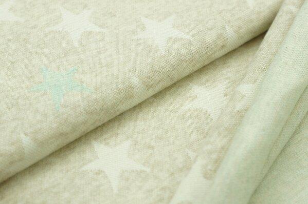 Jacquard-Sweat Mia off white und pastell mint Sterne auf pastell beige Melange