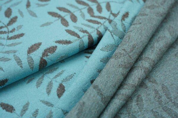 Jacquard-Jersey dunkelgraues Blätter Muster auf eisblau