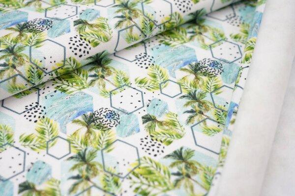 Kuscheliger Baumwoll-Sweat Digitaldruck Palmen Blätter Farne Hexagon weiß