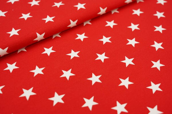 Baumwoll-Sweat große Sterne rot / weiß