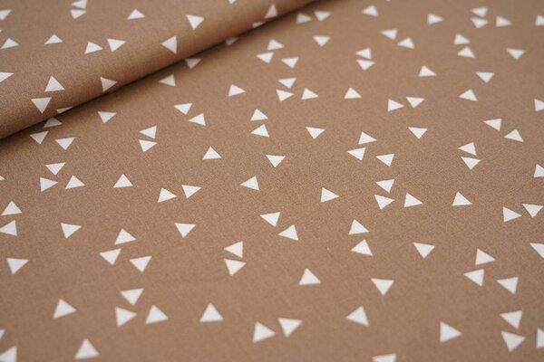 Baumwollstoff Baumwolle hellbraun mit weißen Dreiecken