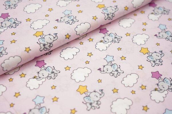 Baumwollstoff mit Baby Elefanten Sternen und Wolken auf babyrosa