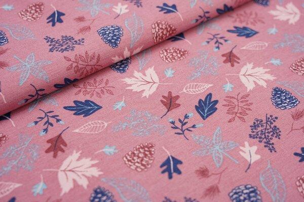 Canvas-Stoff Dekostoff Leinenoptik Blätter in dunkelblau rosa auf dunkel altrosa