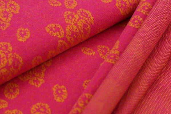 Kuschel Jacquard-Sweat Max senf Blüten Muster auf amarant pink