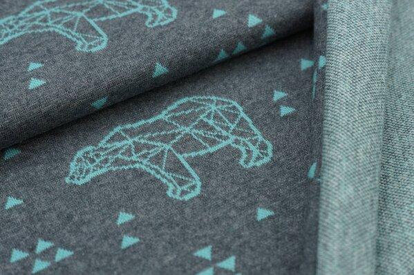 Jacquard-Sweat Mia eisblaue Eisbären und Dreiecke auf dunkelgrau melange
