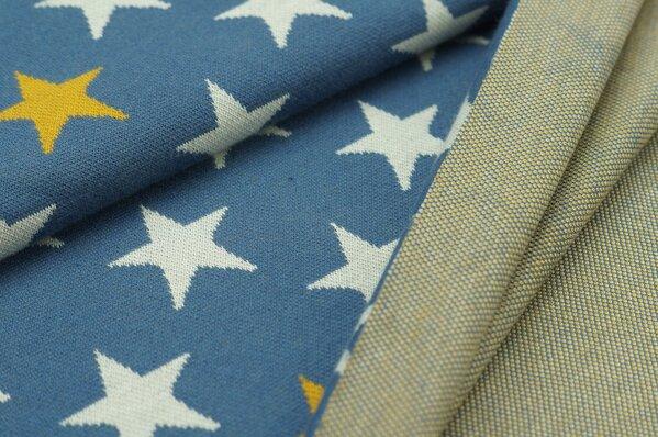 Jacquard-Sweat Ben off white und senf Sterne auf taupe blau