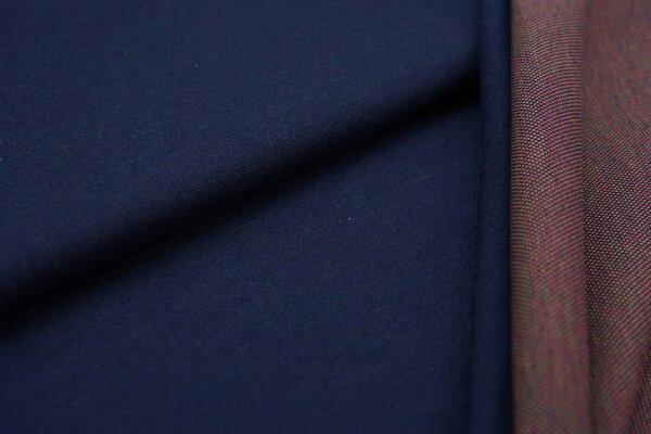 Jacquard-Jersey navy blau Uni mit navy blau / grün / amarant pinker Rückseite