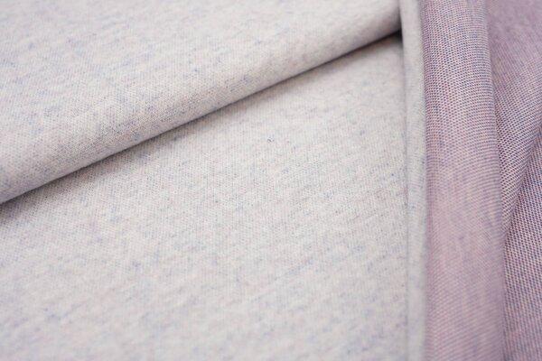 Jacquard-Jersey off white Uni mit taupe blau und koralle Rückseite
