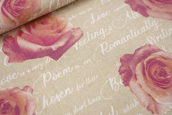 Canvas-Stoff Dekostoff in Leinenoptik Rosen mit Schriftzug natur / weiß / rosa