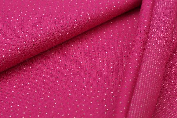 Jacquard-Sweat Ben kleine silber Lurex Glitzer Pünktchen auf pink amarant