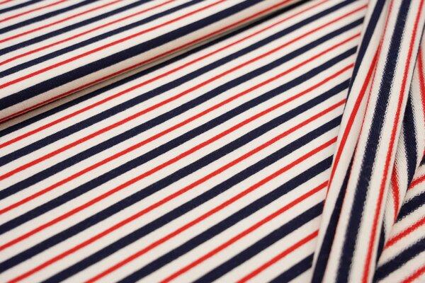 Baumwoll-Sweat Ringel Streifen creme ecru / dunkelblau / rot