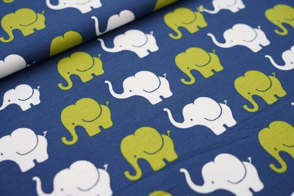 Baumwoll-Jersey Elefanten Parade blau / limettengrün / weiß